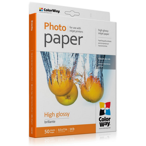 "ColorWay High Gloss Photo Paper (8.5 x 11"", 50 Sheets, 200 gsm)"