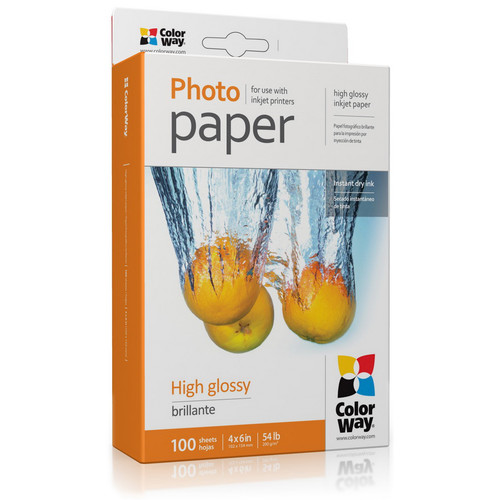 "ColorWay High Gloss Photo Paper (4 x 6"", 100 Sheets, 200 gsm)"