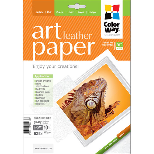 "ColorWay ART Glossy Leather Textured Photo Paper (8.5 x 11"", 10 Sheets)"