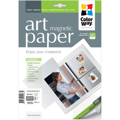 """ColorWay ART Glossy Magnetic Photo Paper (8.5 x 11"""", 5 Sheets)"""