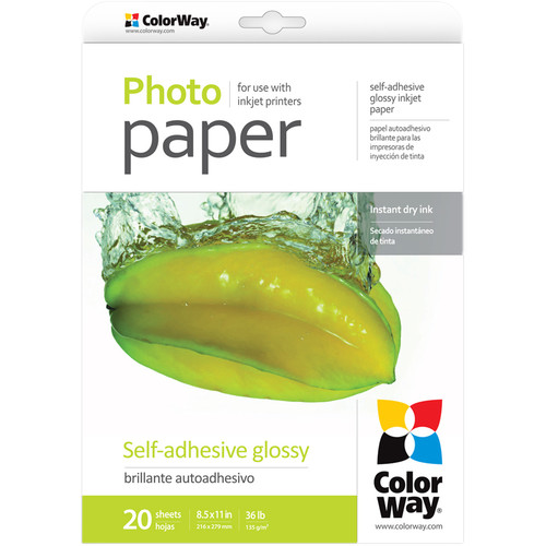 "ColorWay Glossy Self-Adhesive Photo Paper (8.5 x 11"", 20 Sheets)"