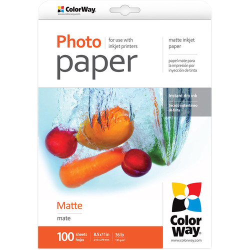 "ColorWay Matte Photo Paper (8.5 x 11"", 100 Sheets, 135 gsm)"