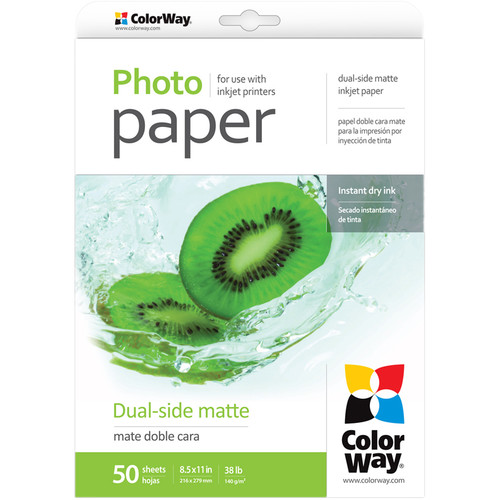 "ColorWay Dual-Side Matte Photo Paper (8.5 x 11"", 50 Sheets)"