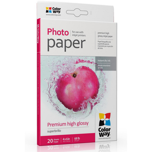 "ColorWay Premium High Glossy Photo Paper (4 x 6"", 20 Sheets)"