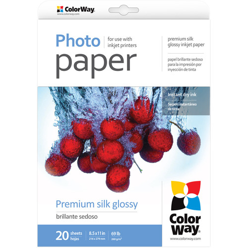 """ColorWay Premium Silk Glossy Photo Paper (8.5 x 11"""", 20 Sheets)"""