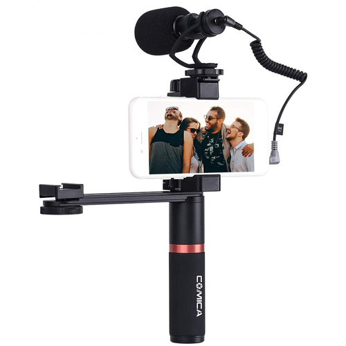 Comica Audio CVM-VM10-K4 Camera-Mount Shotgun Microphone with Grip Handle and Accessory Arm for Smartphones