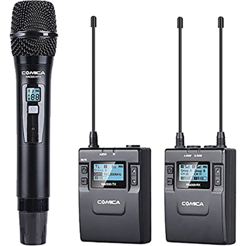 Comica Audio CVM-WM300B Camera-Mountable Dual-Transmitter UHF Wireless System with Lavalier and Handheld Mics (520 to 578.5 MHz)
