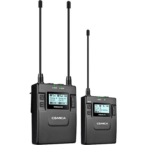 Comica Audio CVM-WM300C Camera-Mount Wireless Omni Lavalier Microphone System with Rechargeable Batteries (520 to 578 MHz)