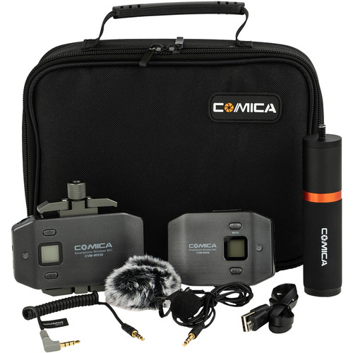 Comica Audio CVM-WS50B Wireless Lavalier Microphone System with Handle Grip for Smartphones (520 to 526 MHz)