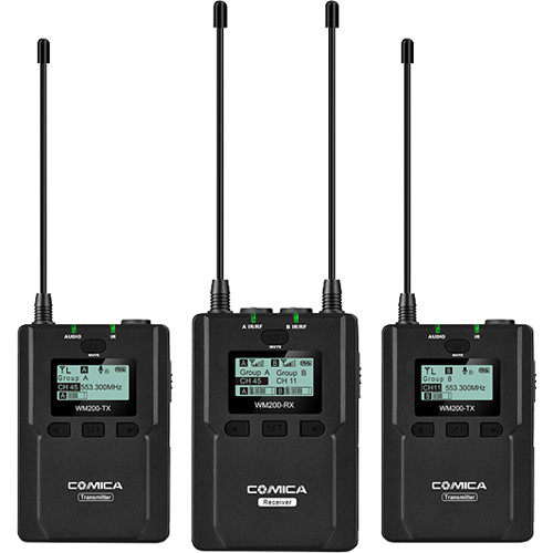 Comica Audio CVM-WM200A Camera-Mountable Dual Transmitter UHF Wireless System with Lavalier Mics (520.0 to 548.5 MHz, 550.0 to 578.5 MHz)