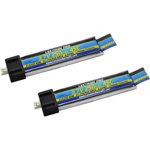 Common Sense RC Lectron Pro 250mAh LiPo Battery for Blade/Nano/Tiny Whoop/UMX AS3Xtra Drones (3.7V, 45C, 2-Pack)