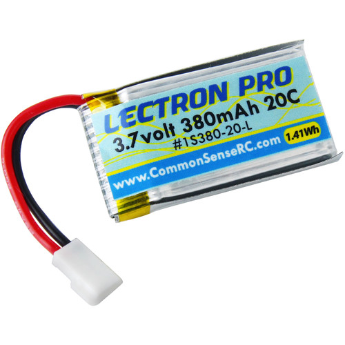 COMMON SENSE RC Lectron Pro 3.7V 380mAh 20C LiPo Battery with Walkera Connector for Hubsan X4 Quadcopter