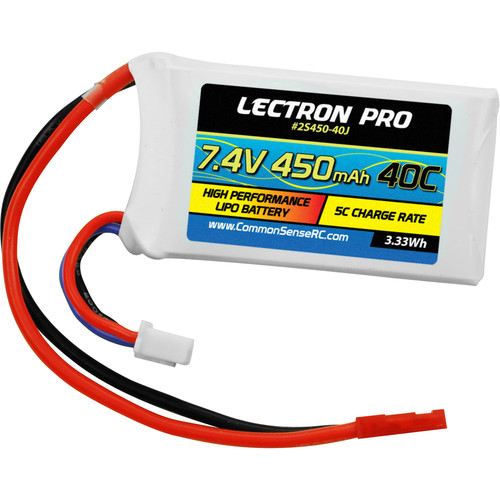Common Sense RC Lectron Pro 450mAh LiPo Battery with JST Connector for Small Drones and Airplanes (7.4V, 40C)