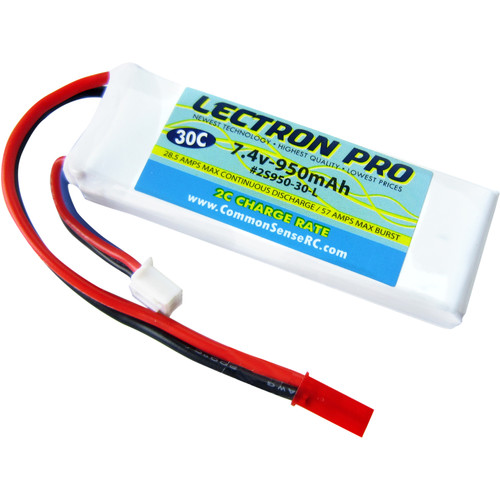 Common Sense RC Lectron Pro 7.4V 950mAh 30C LiPo Battery with JST Connector for Blade 200 QX and CX/CX2/CX3