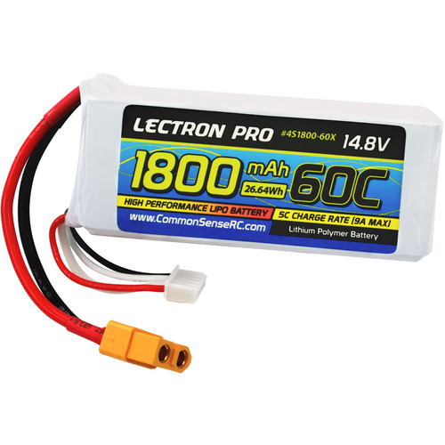 Common Sense RC Lectron Pro 1800mAh LiPo Battery for FPV Racers & EDF Jets (14.8V, 60C)