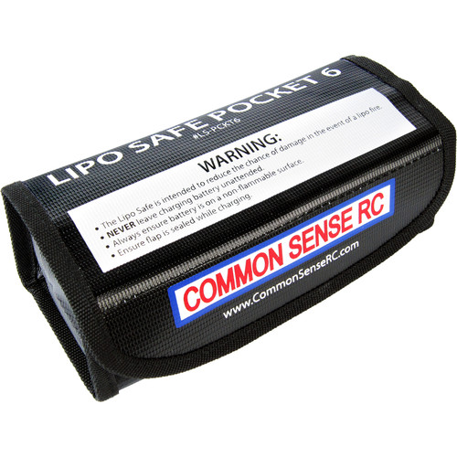 "Common Sense RC LiPo Safe Pocket 6 Charging/Storage Bag for 6S LiPo Battery (7.25 x 3.0 x 2.4"")"