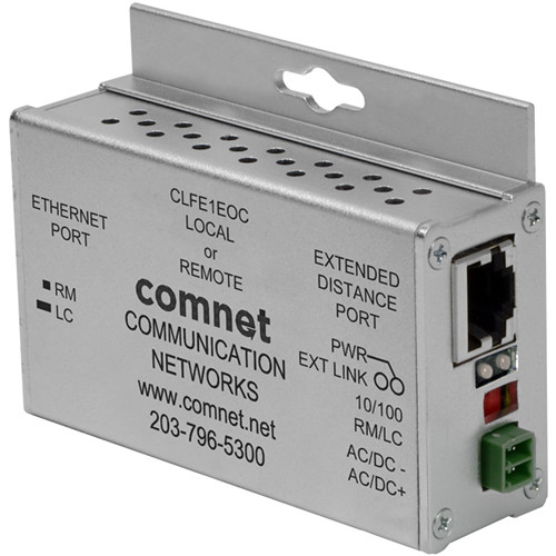 COMNET CLFE1EOC Single-Channel Ethernet Extender over Coax with Pass-Through