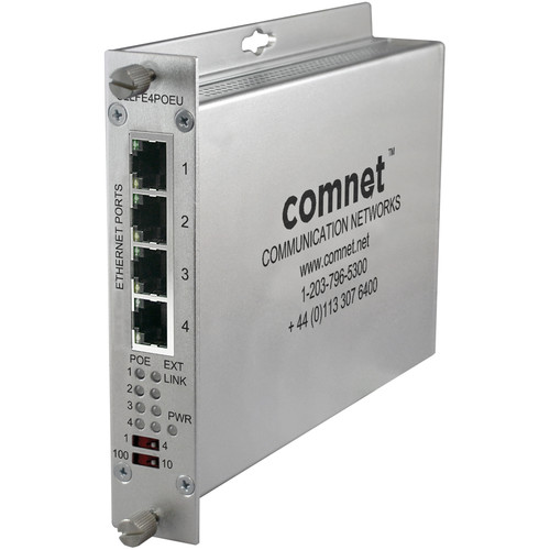 COMNET 4-Channel EOU Ethernet Extender with 30W PSE PoE+