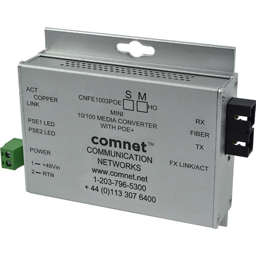 COMNET Single Mode 100 Mbps Media Converter with 48V POE (ST, 60W, Mini A)