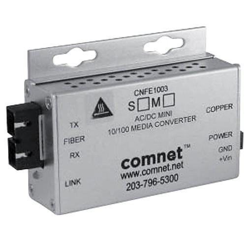 COMNET Multimode 10/100 Mbps Ethernet 1310/1550nm Mini AC/DC Power Media Converter (ST Connector, 2 mi)
