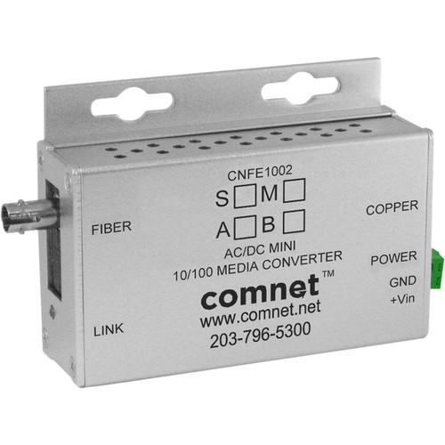 COMNET Single Mode 10/100 Mbps Ethernet 1310/1550nm Mini AC/DC Power Media Converter (ST Connector, 12 mi)