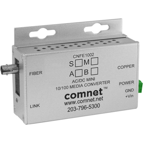 COMNET Single Mode 10/100 Mbps Ethernet 1310/1550nm Mini AC/DC Power Media Converter (ST Connector, 12 mi)