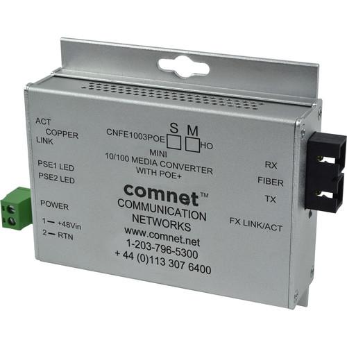 COMNET Multimode 100 Mbps Media Converter with 48V POE (SC, 60W, Mini)
