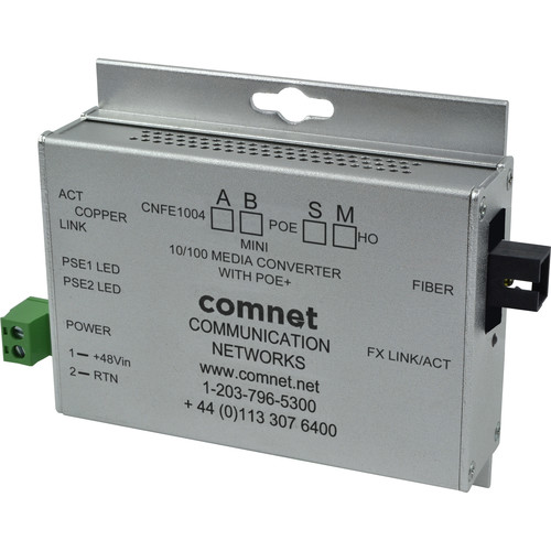 COMNET Single Mode 100 Mbps Media Converter with 48V POE (SC, 60W, Mini A)