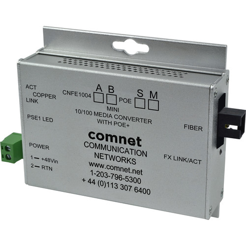 COMNET Multimode 100 Mbps Media Converter with 48V POE (SC, 30W, Mini B)