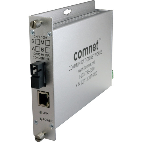 COMNET Multimode 10/100 Mbps Ethernet 1550/1310nm Standard Mount DC-Only Media Converter (SC Connector, 2 mi)