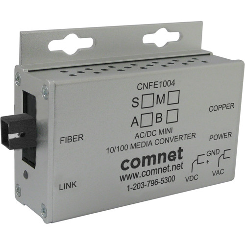 COMNET Multimode 10/100 Mbps Ethernet 1310/1550nm Mini AC/DC Power Media Converter (SC Connector, 2 mi)