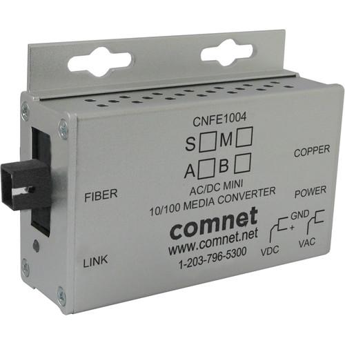 COMNET Single Mode 10/100 Mbps Ethernet 1550/1310nm Mini AC/DC Power Media Converter (SC Connector, 12 mi)