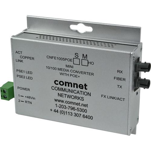 COMNET Single Mode 100 Mbps Media Converter with 48V POE (ST, 60W, Mini)