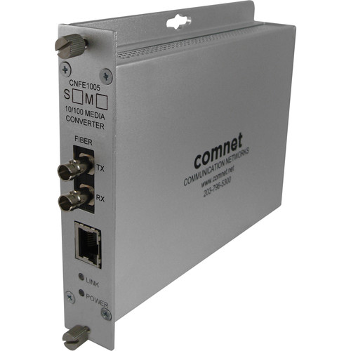 COMNET Single Mode 10/100 Mbps Ethernet 1310nm Standard Mount DC-Only Media Converter (ST Connector, 12 mi)