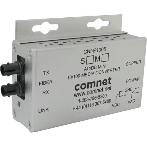 COMNET Single Mode 10/100 Mbps Ethernet 1310nm Mini AC/DC Power Media Converter (ST Connector, 12 mi)