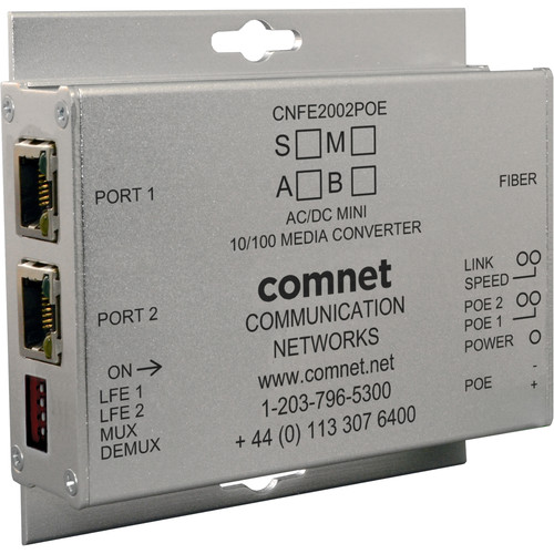 COMNET 2-Channel 10/100Mbps Ethernet Single Mode 1310/1550nm Electrical to Optical Media Converter with 30W PoE (SC, Up to 12 mi, B Side)