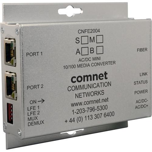 COMNET Mini Single Mode 1550/1310nm AC/DC Power Media Converter (SC Connector, Up to 12 mi)