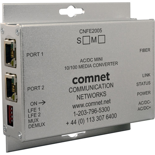 COMNET Mini Single Mode 1310nm AC/DC Power Media Converter (ST Connector, Up to 12 mi)