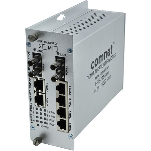 COMNET 8-Port Multimode 10/100Mbps Drop/Insert/Repeat 6TX/2FX Ethernet Self-Managed Switch with PoE (Up to 1.8 mi)