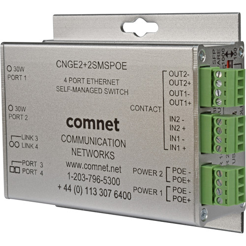 COMNET 10/100/1000 Mbps Intelligent Redundant Ring Gigabit Switch with 30W of PoE+ Power (4-Port)