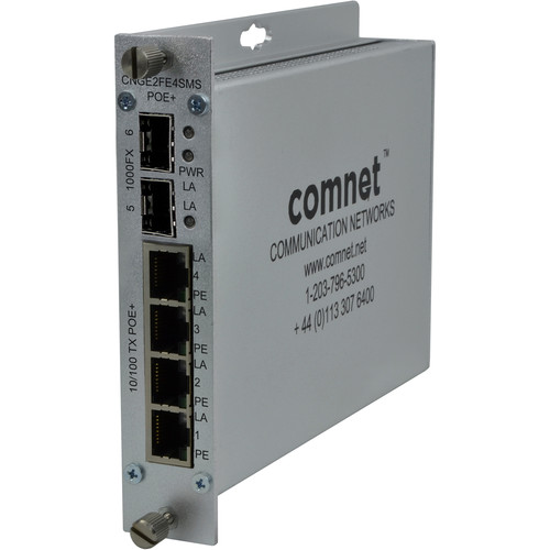 COMNET 6-Port Gigabit Ethernet Self-Managed Switch with 50W of PoE+ Power