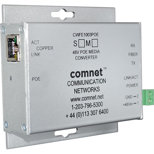 COMNET Commercial Grade Mini 10/100 Mbps Ethernet 2-Port 60W Media Converter with 48V PoE Plus (Multimode, ST, B Unit)
