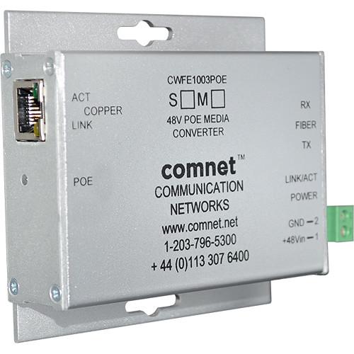COMNET 2-Port Single Mode 10/100Mbps Ethernet Media Converter with POE (SC Connector, 60W)