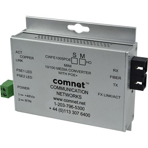 COMNET 2-Port Single Mode 10/100Mbps Ethernet Media Converter with POE (ST Connector, 60W)