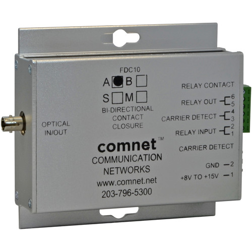 COMNET Small Contact Closure Single Mode Transceiver (1310/1550nm, Conformally Coated Circuit Boards, 43 mi)