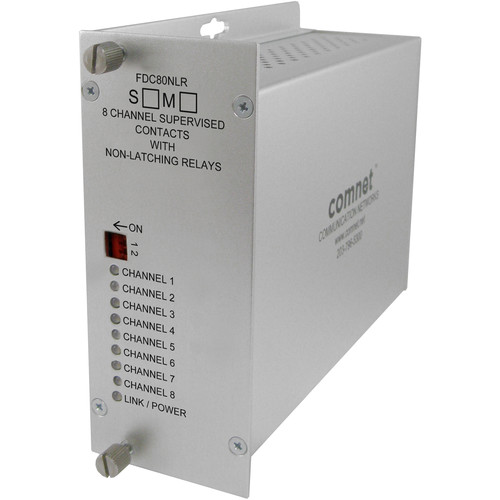 COMNET 8-Channel Supervised Contact Closure Multimode Fiber Receiver (Non-Latching, 10 mi)