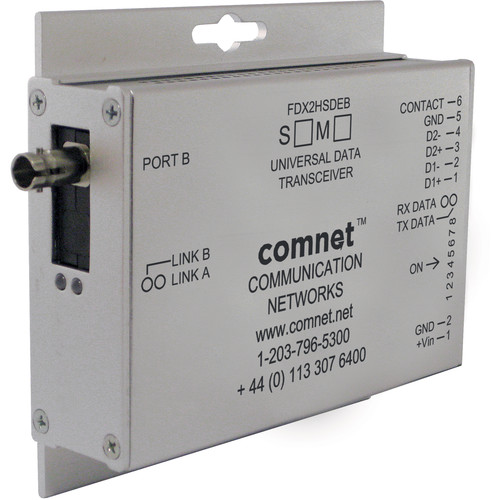 """COMNET Dual High-Speed RS485 2W """"B"""" End Point Data Transceiver (Single-Mode)"""