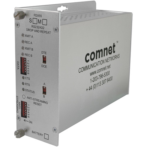 COMNET Anti-Streaming RS-232/422 Drop-and-Repeat Data Multimode Transceiver (850nm)