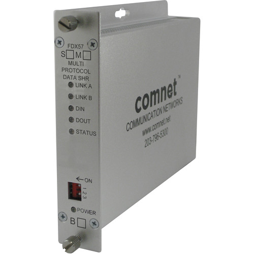 COMNET FDX57 Self-Healing Ring Multimode RS232/422/485 Data Transceiver Unit (Conformally Coated Circuit Boards, 2.5 mi)