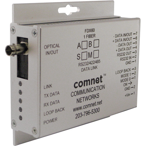 COMNET RS-232/RS-422/RS-485 Single Mode 1310/1550nm Mini Data Transceiver ( Up to 43 mi)